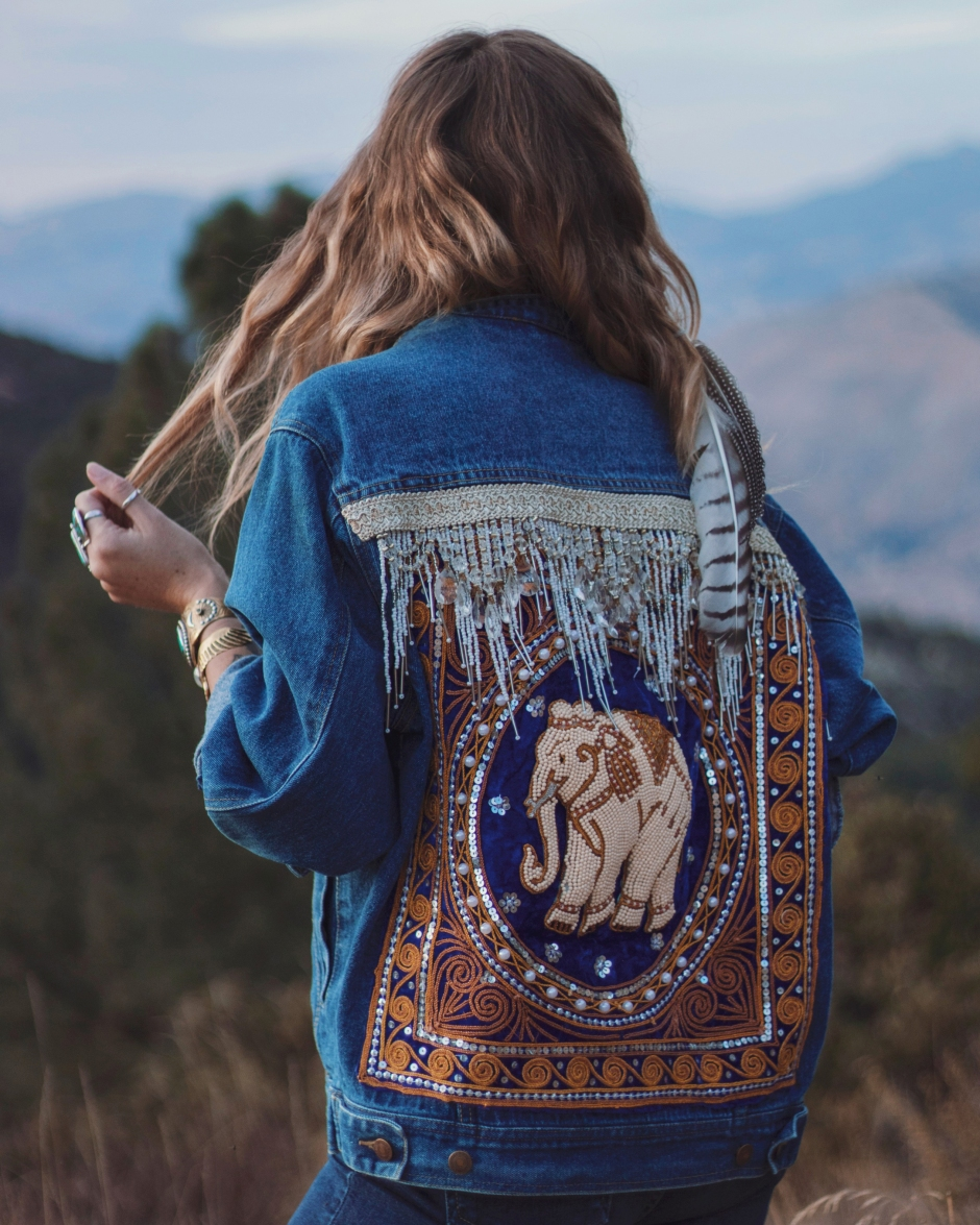 embellished elephant denim by wildandfreejewelry