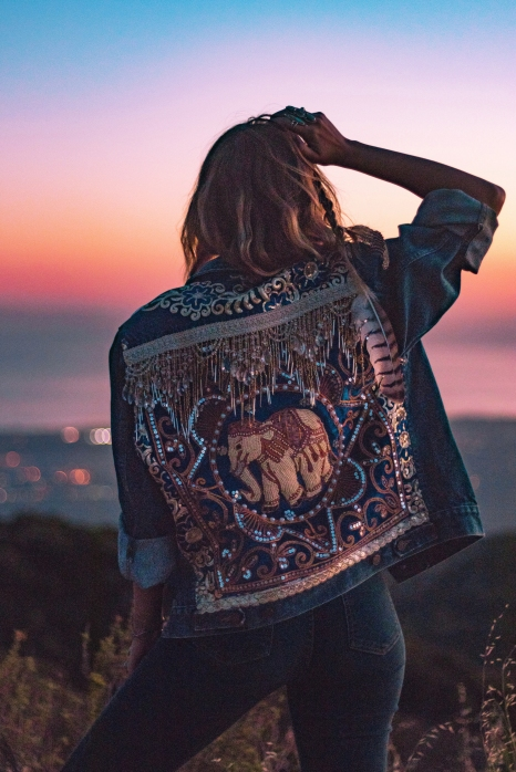 Embellished Denim Elephant Jacket by Wild & Free Jewelry