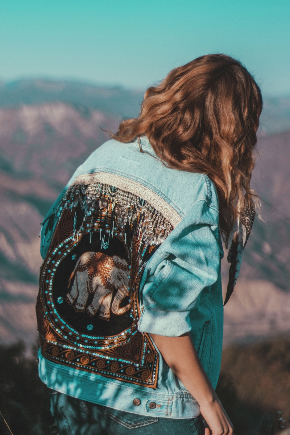 wild and free embellished denim jacket